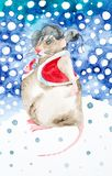 Watercolor illustration of a rat in a winter forest. Dressed in Christmas coat and hat with earflaps. Symbol of 2020 royalty free stock photography