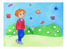 Watercolor illustration about red hair boy in red shirt with net on the spring background with flower and colorful butterflyes. royalty free illustration