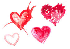 Watercolor illustration of a red heart Stock Image