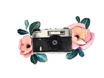 Watercolor illustration of retro camera with tropical flowers. Hand drawn art vector illustration
