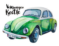Watercolor  illustration of retro green car Royalty Free Stock Images