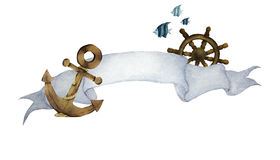 Watercolor illustration with ribbon for text and nautical. Anchor ,Steering wheel and fishes. Art banner for your design.- Across the sea concept Stock Photos