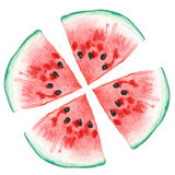 Watercolor illustration of ripe watermelon Stock Photos
