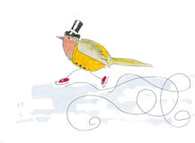 Watercolor illustration of a robin bird dressed up in old fashio Royalty Free Stock Photos