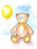 Watercolor illustration -  sad teddy bear with yellow balloon. Sad teddy bear with yellow bow on the neck holding a yellow balloon on a blue background Royalty Free Stock Photo