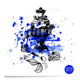 Illustration of a samovar, cake and candy. Watercolor illustration of a samovar, cake and candy Stock Photo