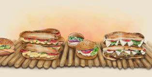 A watercolor illustration of sandwiches. With cheese, eggplant, tomatoes and, lettuce Stock Photography