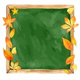 Watercolor illustration. school board and autumn leaves. Stock Photography