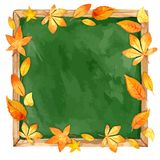 Watercolor illustration. school board and autumn leaves. Royalty Free Stock Photography