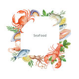 Watercolor illustration of seafood and spices. Royalty Free Stock Photography