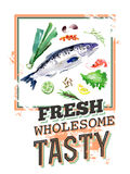 Watercolor illustration of seafood with text message Royalty Free Stock Photo