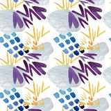 Seamless pattern of abstract blue spots and yellow check marks. Watercolor illustration. vector illustration