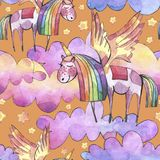 Watercolor illustration. Seamless pattern with bright rainbow clouds, unicorns and stars. vector illustration
