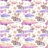 Watercolor illustration. Seamless pattern with bright rainbow clouds, unicorns and stars. royalty free illustration