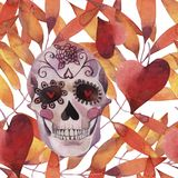 Watercolor illustration seamless pattern. Halloween. Spooky skull with light eyes and autumn leaves. stock illustration