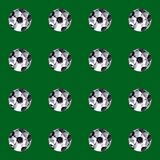watercolor illustration. seamless pattern of white soccer balls on a green background. isolated