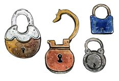 Watercolor illustration set of colorful old padlocks. Hand drawn watercolor illustration set of colorful old padlocks on white background Stock Photography