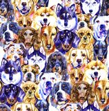 Watercolor illustration set of dogs, seamless pattern isolated on white background royalty free illustration
