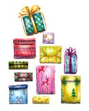 watercolor illustration set of gift boxes with a bow for new year and Christmas celebrations.Isolated on a white background. Hand-