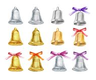 Vector Set of gold and silver Christmas bells with bows on isolated background. watercolor illustration. Watercolor illustration. Set of gold and silver Stock Photo