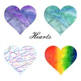 Watercolor illustration. A set of hearts filled watercolor backgrounds vector illustration