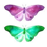 Watercolor illustration, set, image of colored transparent butterflies. Stock Photo