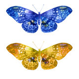 Watercolor illustration, set, image of colored transparent butterflies. Royalty Free Stock Photos
