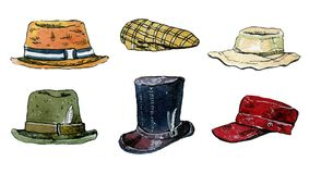 Watercolor illustration set of isolated hats and caps. Hand drawn watercolor illustration set of colorful hats and caps on white background Stock Photography