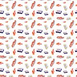 Watercolor illustration of a set of sushi and rolls. Isolated on white background. Seamless pattern vector illustration