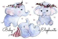 Three cute watercolor baby elephants