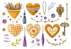 Watercolor illustration set in vintage style. Illustrations for Valentine`s day or wedding, hearts, floral elements