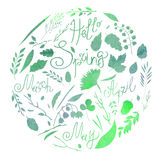 Watercolor illustration, set, watercolor texture of green and blue, silhouette. A set of elements - symbols of spring. Leaves, bra. Nches, blades of grass Royalty Free Stock Image