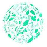 Watercolor illustration, set, watercolor texture of mint and blue, silhouette. A set of elements - symbols of spring. Leaves, bran. Ches, blades of grass Royalty Free Stock Photos