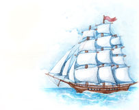 Watercolor illustration of ship Royalty Free Stock Photos