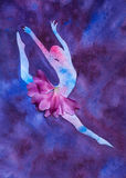 Watercolor illustration silhouette of a ballet dancer Stock Photos