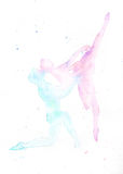 Watercolor illustration silhouettes of ballet dancers kissing Stock Photo