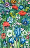 Watercolor Floral Garden Flowers royalty free illustration