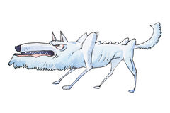 Watercolor illustration of skinny grey angry wolf grinning and growling before attack.  Royalty Free Stock Photos