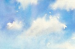 Watercolor illustration of sky with cloud. Artistic natural painting abstract background. Stock Images