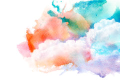 Watercolor illustration of sky with cloud. Royalty Free Stock Photo