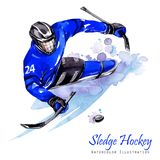 Watercolor illustration. Sledge Hockey. Disability snow sports. Figure of disabled athlete on the ice with a puck Royalty Free Stock Image