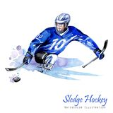 Watercolor illustration. Sledge Hockey. Disability snow sports. Figure of disabled athlete on the ice with a puck Royalty Free Stock Photo