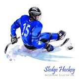 Watercolor illustration. Sledge Hockey. Disability snow sports. Figure of disabled athlete on the ice with a puck Royalty Free Stock Images