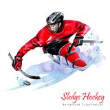 Watercolor illustration. Sledge Hockey. Disability snow sports. Figure of disabled athlete on the ice with a puck Stock Photos