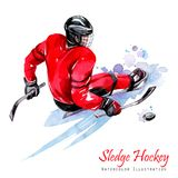 Watercolor illustration. Sledge Hockey. Disability snow sports. Figure of disabled athlete on the ice with a puck Stock Image