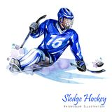 Watercolor illustration. Sledge Hockey. Disability snow sports. Figure of disabled athlete on the ice with a puck Stock Photography