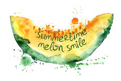 Watercolor illustration with  slice of melon. Royalty Free Stock Photography