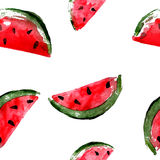 Watercolor illustration, slice of watermelon. Seamless pattern Royalty Free Stock Photography