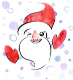Watercolor illustration of smiling Santa Claus in cute kawaii style Stock Photo