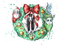 Watercolor illustration of spooky christmas wreath Stock Photography